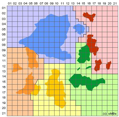 Podział administracyjny Dreamlandu z sektorami