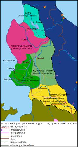 Mapa administracyjna Moheratu Berecji