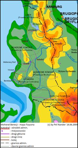 Mapa fizyczna Moheratu Berecji